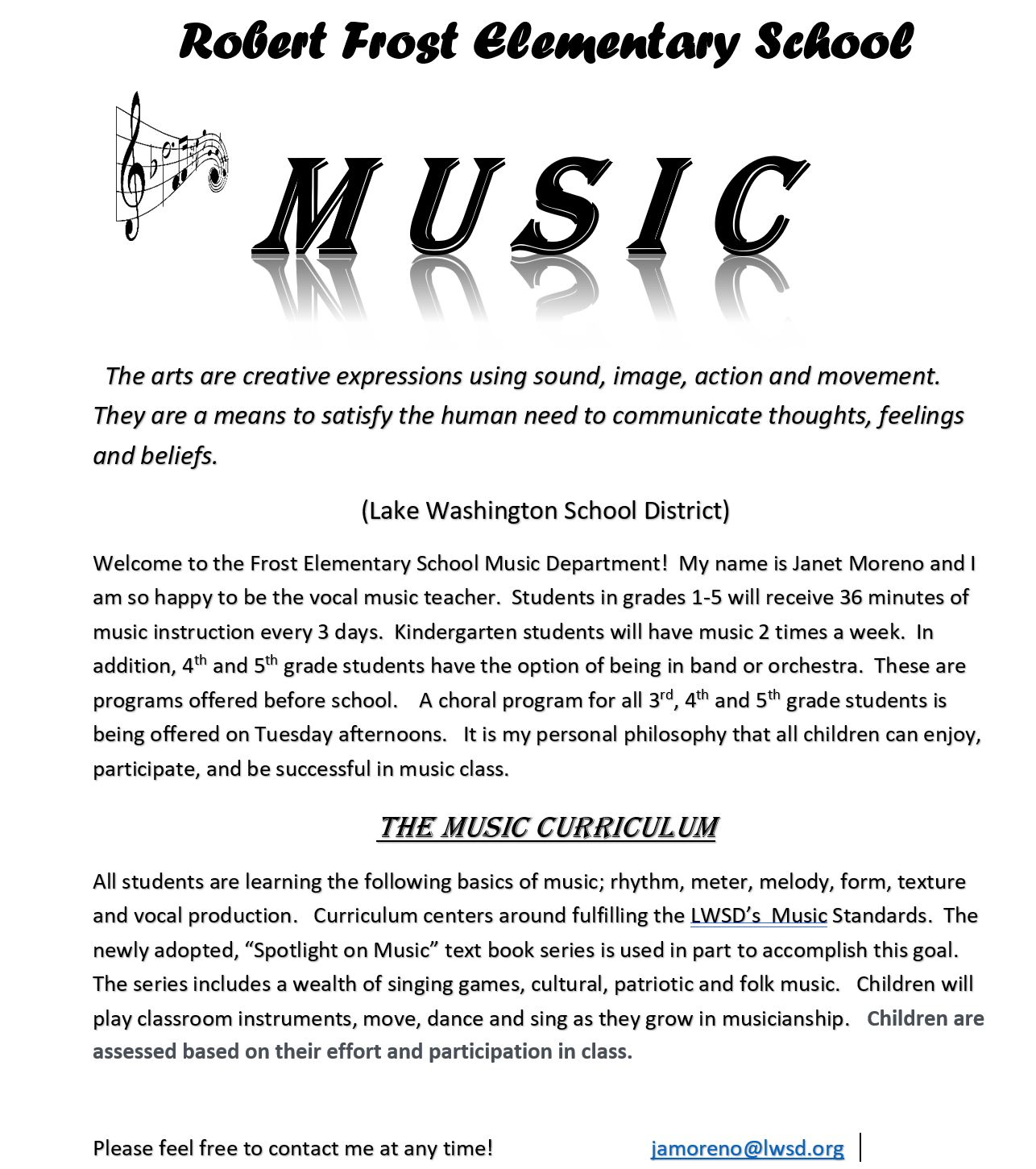 Description of the Robert Frost Elementary School Music program